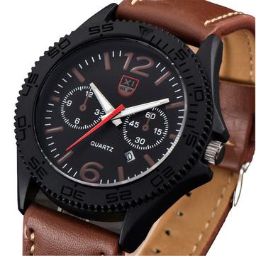 XINEW 2168 Fashion Men Quartz Watch Leather Strap Sport Wrist Watch