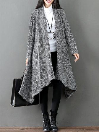 Solid Color Women Long Sleeve Open Front Cardigan with Pockets