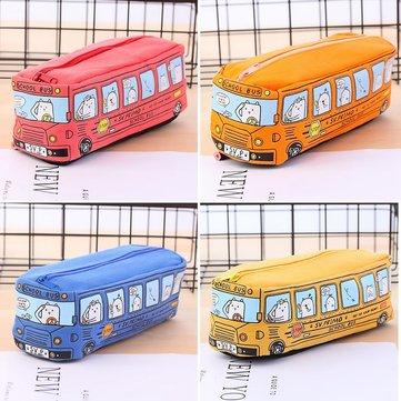 Kids Cartoon Canvas Pen Pencil Case Bag Box Bus Storage Large Zipper School Pen Bag