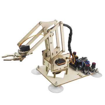 LOBOT WoodenArm Open Source RC Robot Arm Programmable Infrared Control Color Recognition Rrm Kit Compatible Arduino