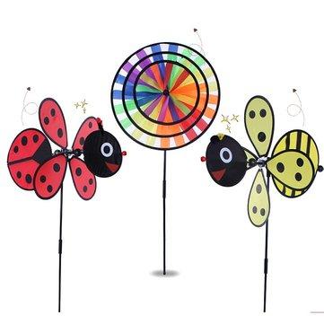 Windmill Red Ladybug and Yellow Bee Design Windmill Children Garden Decoration