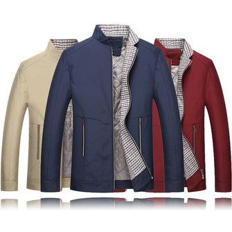 Mens Thick Stand Color Solid Color Jacket Slim Fit Casual Fashion Winter Business Coat
