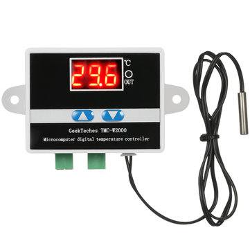 GeekTeches TMC-W2000 AC110-220V 1500 W LCD Digital Thermostat Thermometer Suhu Meter Thermoregulator + Tahan Air Sensor Probe
