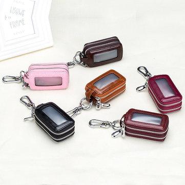 Genuine Leather Car Key Case Key Bag Chain Holder Zipper Key Pouch for Men Women