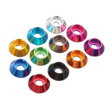 Suleve ™ M3AN6 10 Cái M3 Cup Hex Hex Gasket Máy giặt Nuts Hợp kim nhôm nhiều màu
