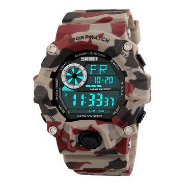 SKMEI 1019 שעון דיגיטלי אופנה Multi-Funcional ספורט Chronograph 50M Waterproof גברים שעון היד