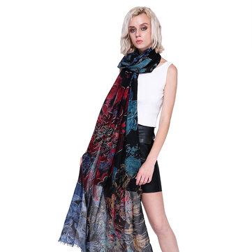 Mujer Flor de bufanda de otoño invierno Flor impresa elegante chal