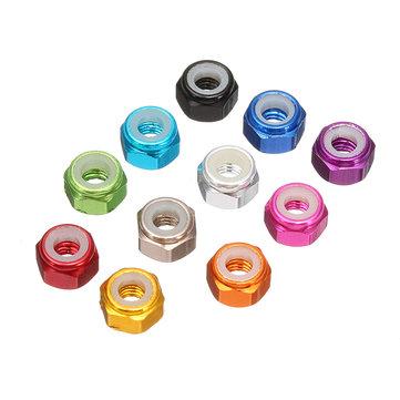 Suleve™ M3AN1 10Pcs M3 Self-locking Nylon Nut Aluminum Alloy Multi-color
