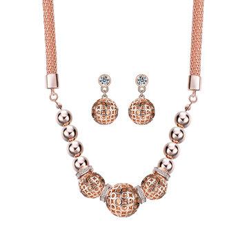 Trendy Women's Rose Gold Bead Pendant Jewelry Set Necklace Rhinestone Earrings