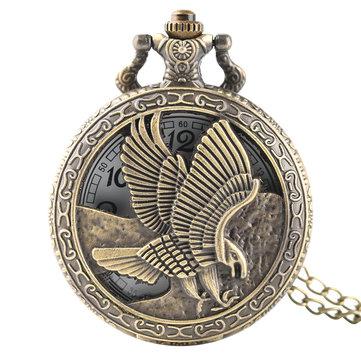 DEFFRUN Vintage bronze Eagle Wings Pattern Pocket Watch Necklace Digital Dial Quartz Pocket Watch