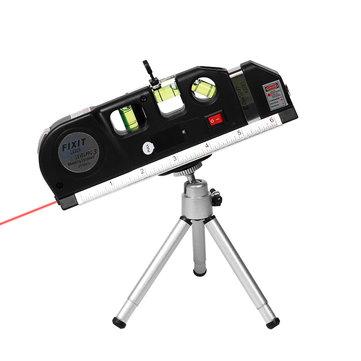 Loskii 3Pcs/set Laser Level Vertical Measure Line Tape Adjusted Multifunctional Standard Ruler with Stand And Tripod Horizontal Lasers Instrument Laser Level