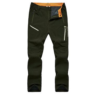पुरुषों मोटी फ्लीस शीतकालीन आउटडोर खेल पैंट निविड़ अंधकार गर्म पैंट