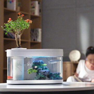 Geometry Fish Tank Aquaponics Ecosystem Small Water Garden Ecological Fish Tank Aquarium Transparent Aquarium from xiaomi youpin