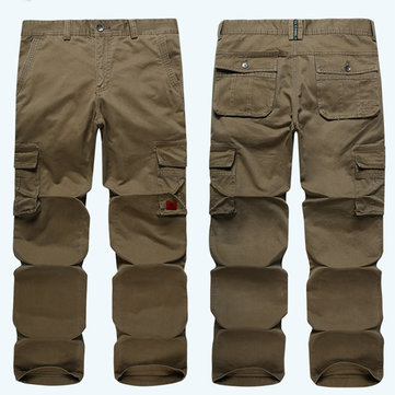 Mens Loose Straight Leg Big Multi-pocket Casual Cotton Cargo Pants Size 32-42