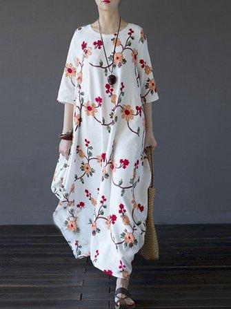 Vintage Kadın Çiçekli İşlenmiş Yarım Kılıf Düzensiz Robe Elbise