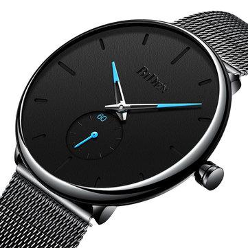 バイデン 0124ウルトラシンカジュアルスタイルメンズ腕時計メッシュステンレススチールストラップクォーツ時計