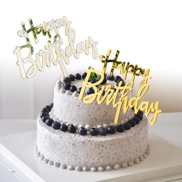 Happy Birthday Cake Topper Mirror Gold Acrylic Birthday Party Decorations