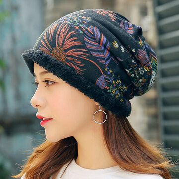 Women Warm Plus Velvet Thicken Beanie Hat Collar Cashmere Fashion Painting Hat