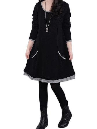 महिला प्लस आकार लंबी आस्तीन मोटाई फ्लीस मिनी ड्रेस