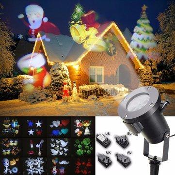 12pattern impermeable LED móvil láser proyector luz de la etapa de Navidad halloween lámpara