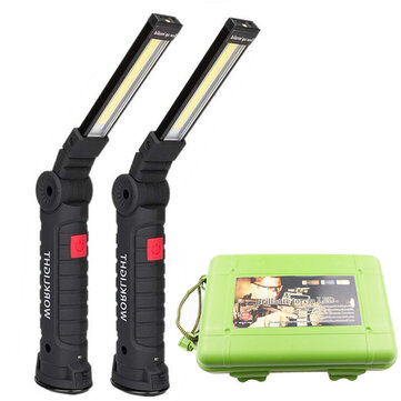 XANES COB LED Multi Function Folding Work Light Set USB Rechargeable LED Flashlight USB Cable Car Charger Battery Charger