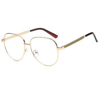 यूनिसेक्स पुरुषों महिला धातु फ्रेम चश्मा साफ़ लेंस विंटेज रेट्रो गीक फैशन चश्मा