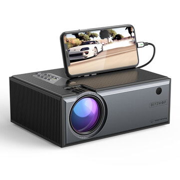 [Newest Version]Blitzwolf BW-VP1-Pro LCD Projector 2800 Lumens Phone Same Screen Version Support 1080P Input Dolby Audio Wireless Portable Smart Home Theater Projector