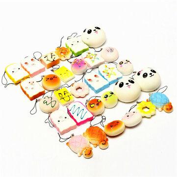 Banggood Kawaii 10Pcs Exquisite Squishy Random Charm Soft Panda/Bread/Cake/Buns Phone Straps Toys Decor