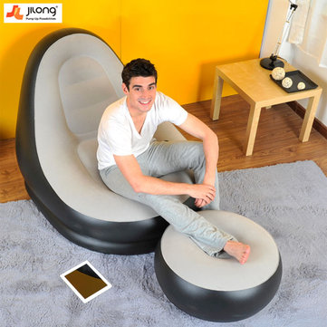 JILONG Portable Air Flocking Fast Inflatable Lazy Sofa Sleep Bed Set Foot Cushion Home Garden Furniture