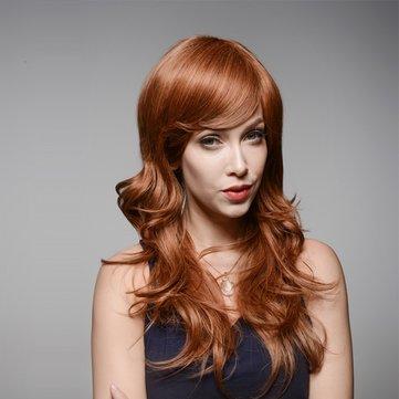Brown Long Wave Tanpa Capless Virgin Rambut Manusia Wig Keriting Sisi Bang Remy Mono Top 60cm 8 Warna