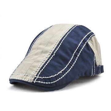 Mens Rayas Algodón Patchwork Colors Gorras de boina al aire libre Sport Visor ajustable Sombreros delanteros
