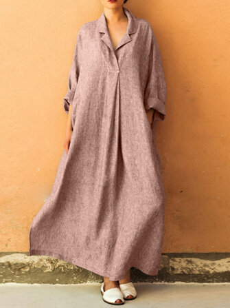 Plus Size V-neck Long Sleeve Solid Color Loose Maxi Dress