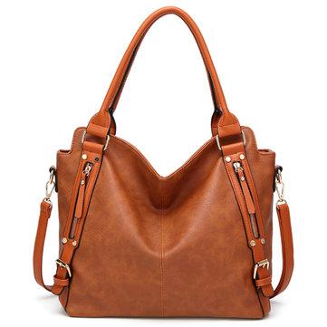 Women's Vintage Tote Shoulder Bag Large Capacity Handbag with Front Zip Card Pockets