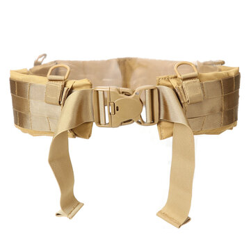 Khaki Tactical Molle Waist Belt Outdoor Camping Hunting CS Adjustable Soft Padded Belt Army Convenient Combat Girdle