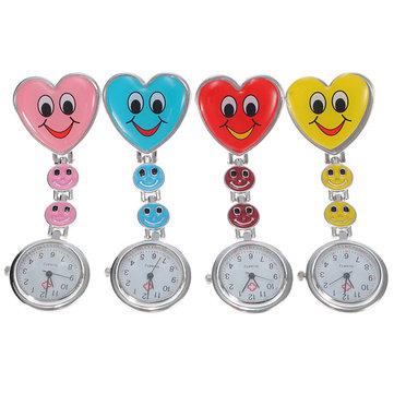 Cartoon Heart Smile Face Clip On Fob Brooch Hang Nurse Watch