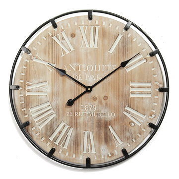 60*60cm Wall Clock Retro Iron Solid Wood Silent Time Living Room Hanging Clock Home Decorative Large Wall Clock Art