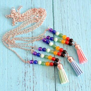 Collar de piedras naturales de moda Colorful borlas de Buda Colgante Collar largo de Mujer