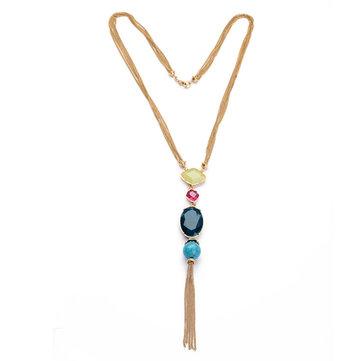 Trendy Tassel Women Necklace Zinc Alloy Resin Beads Pendant Long Sweater Chain