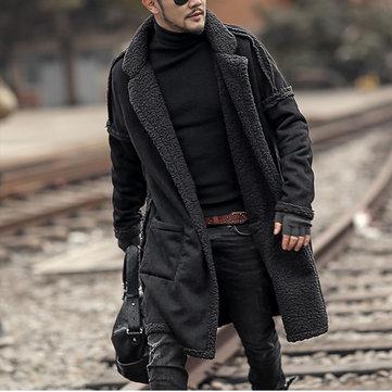 Mens Plus Size Wool Blend Double Side Wearable Thicken Warm Fur Wool Blend Mid Long Coats