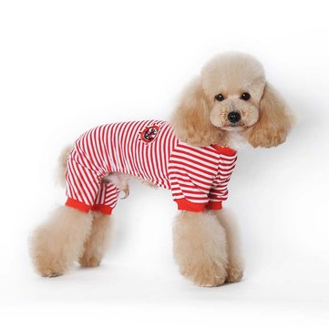 Pet Cartoon Striped Cotton Pyjamas Small Dog Cat Kombinezon Coat Pet T-shirt Dla Teddy Small Dogs