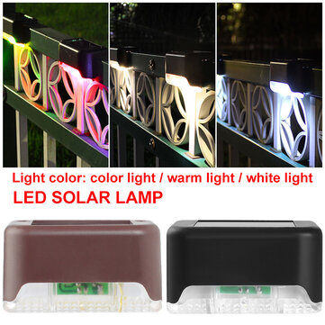 Solar Powered LED Path Landscape Mount Outdoor Garden Stair Fence Lamp