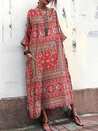 Vintage Çiçekli Baskı Ekip Boyun Gevşek Baggy Maxi Elbise