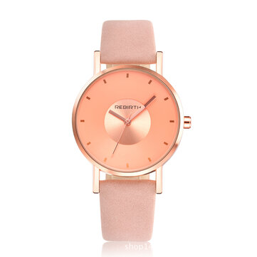REBIRTH RE055 Rose Gold Case Women Wrist Watch Casual Style Gift Leather Strap Quartz Watches