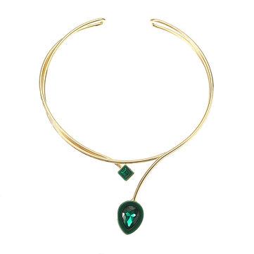 JASSY® Mujer Collar de Cristal Chapado en Oro 18K Verde Pieza de Piedra Preciosa Colgante Regalo de Collar de Dos Capas
