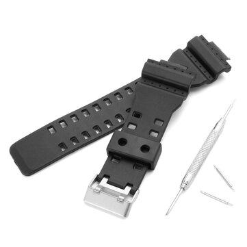 Penggantian 16mm Karet Hitam Watch Band untuk CASIO GA-100 G-Shock GA-120/300 Dengan Buckle Repair Tool