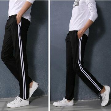 फैशन पुरुषों आरामदायक आरामदायक रंग पैंट कपास सीधे टिथर पतलून