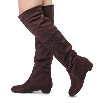 女性のフラットヒールの膝のスエードスラッシュシューズストレッチウィンターブーツ