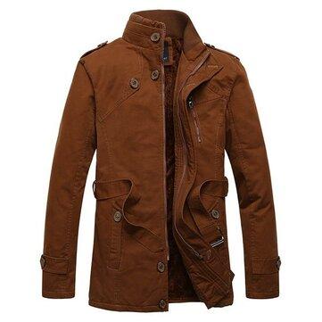 पुरुषों क्लासिक फैशन स्टैंड कॉलर मोटी आउटडोर कोट आरामदायक आरामदायक रंग जैकेट