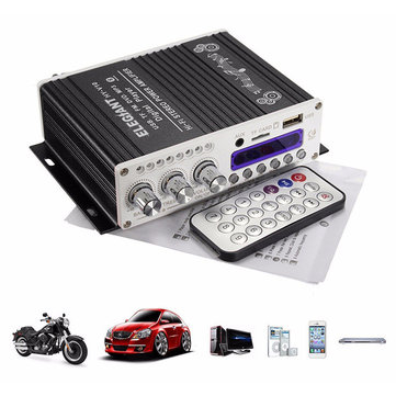 200W 12V Super Bass Mini Hi-Fi Stereo Amplifier Booster Radio MP3