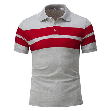 Mens Casual Stripes T-shirt Fashion Pure Color Lapel Short Sleeve Top Tees
